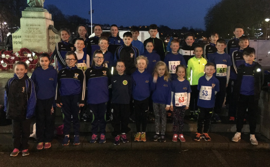 St Peter's AC athletes at Armagh International Road Races (Armagh, February 2018)