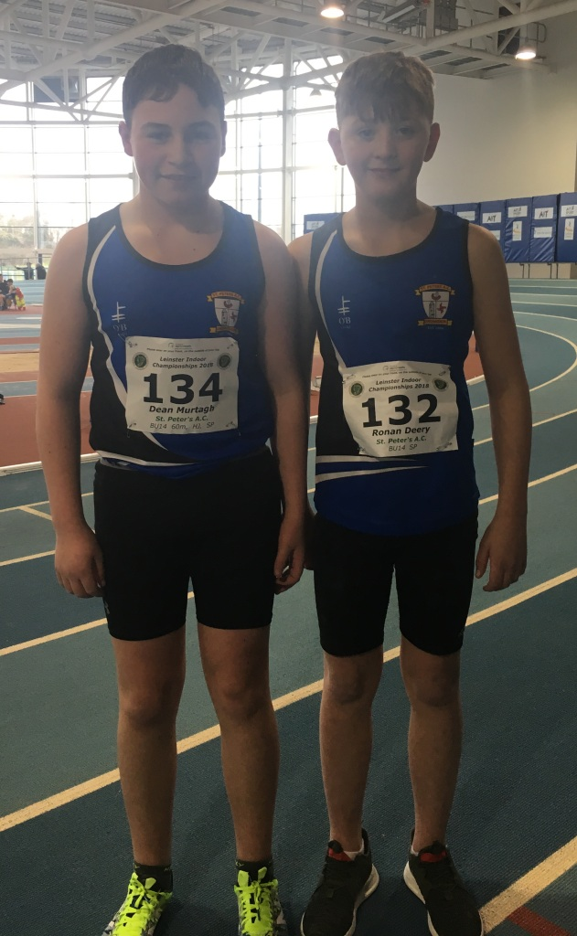 St Peter's AC athletes at Leinster Juvenile Indoor Championships (Athlone, February 2018)