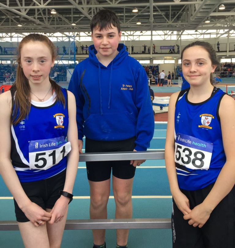 St Peter's AC athletes at Irish Juvenile Indoor Championships (Athlone, March 2018)