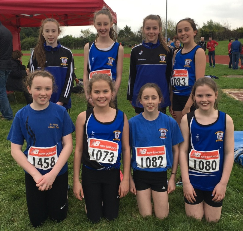 St Peter's AC athletes at Louth Juvenile Pre-Championship Meet (Drogheda, April 2017)