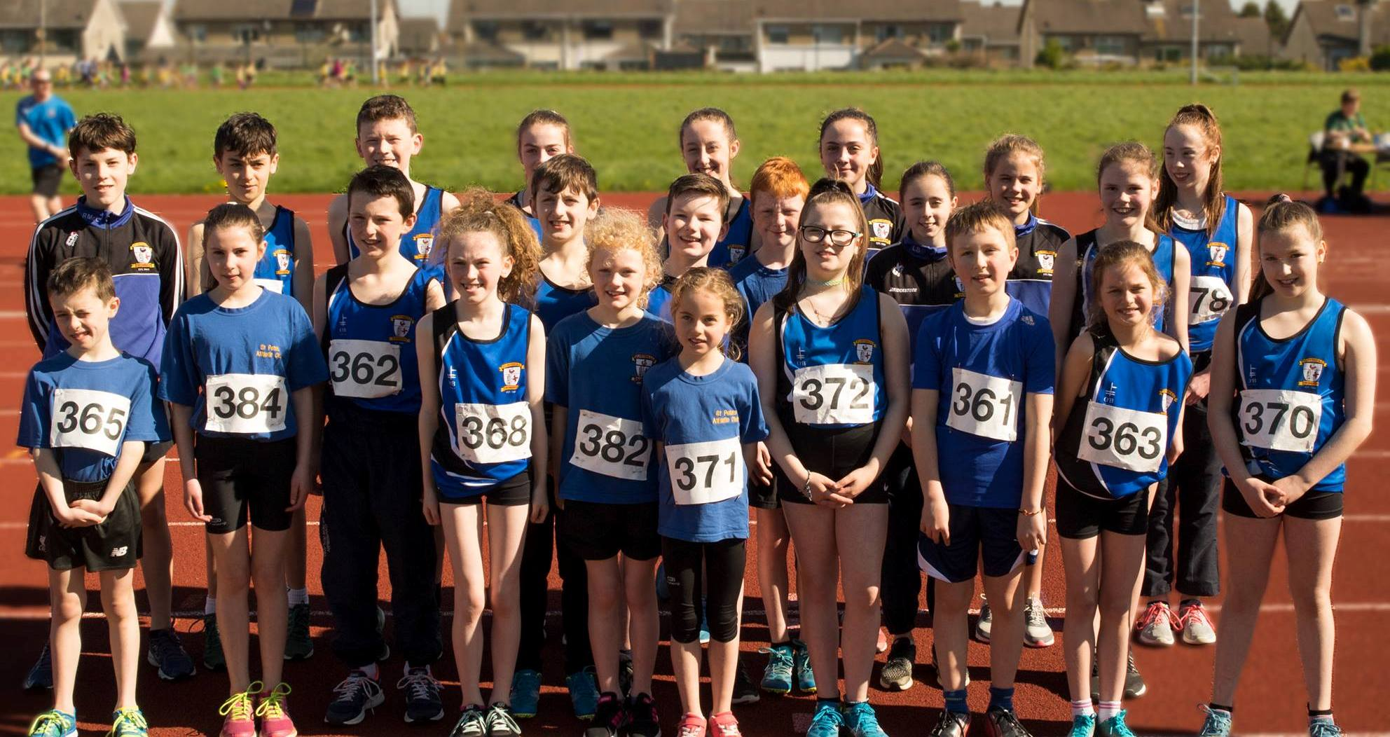St Peter's AC athletes at Louth Juvenile Pre-Championship Meet (Drogheda, April 2018)