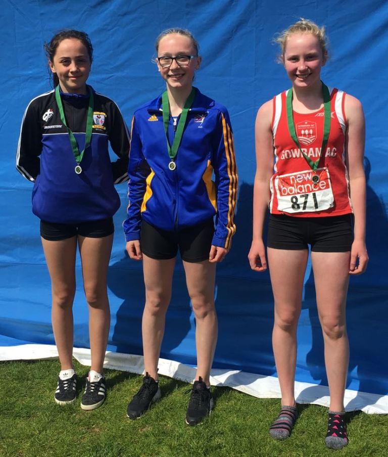 Niamh Brady (on the left) at Leinster Combined Events' Championships (Bush, May 2018)