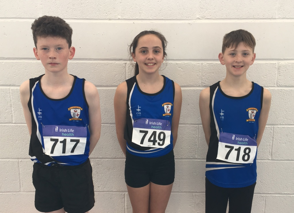 Sean Allen, Niamh Brady and Ronan Deery at Irish Juvenile Indoor Championships (Athlone, April 2017)