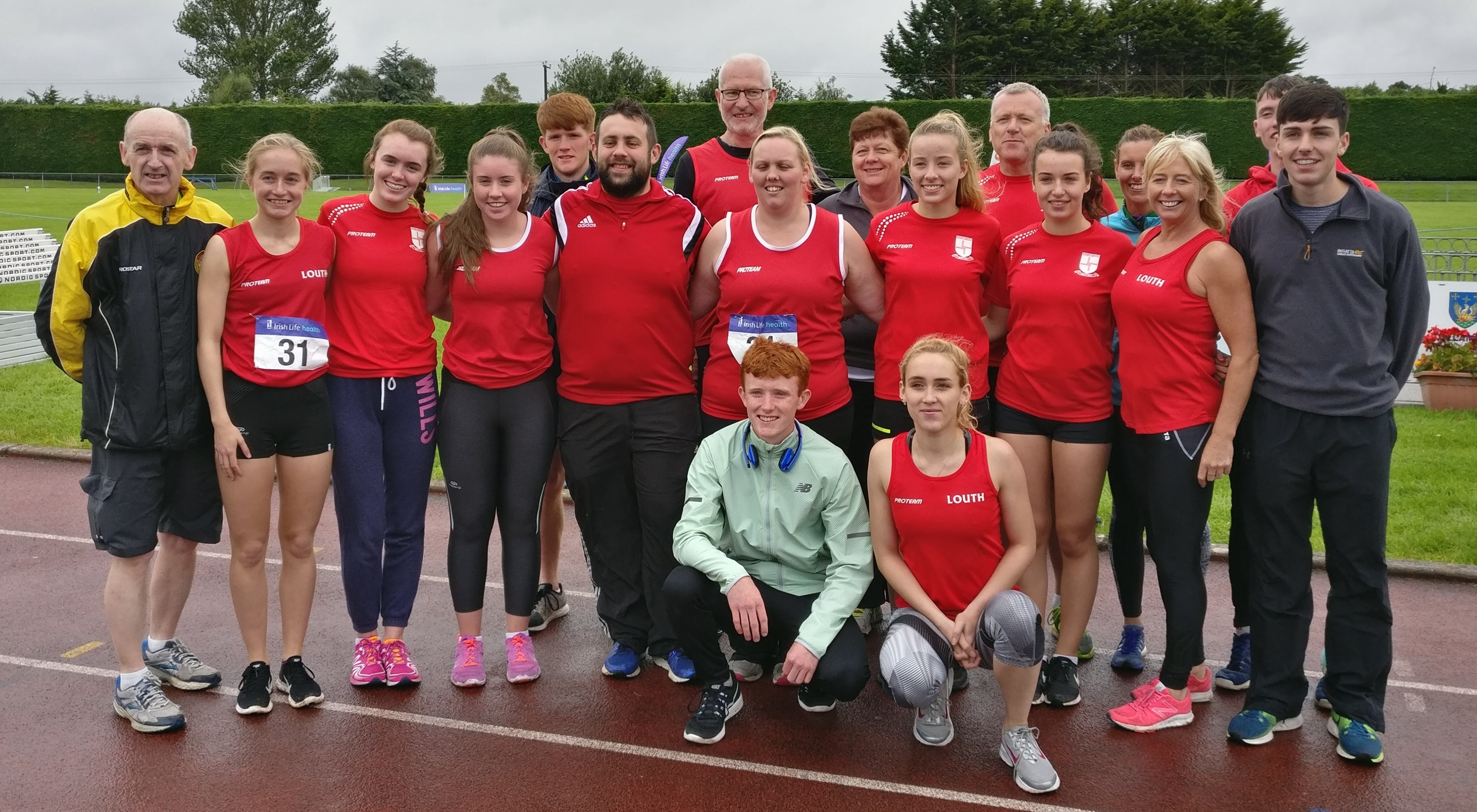 Louth athletes (including Tom McGrane) at Irish League Final (Tullamore, August 2017)